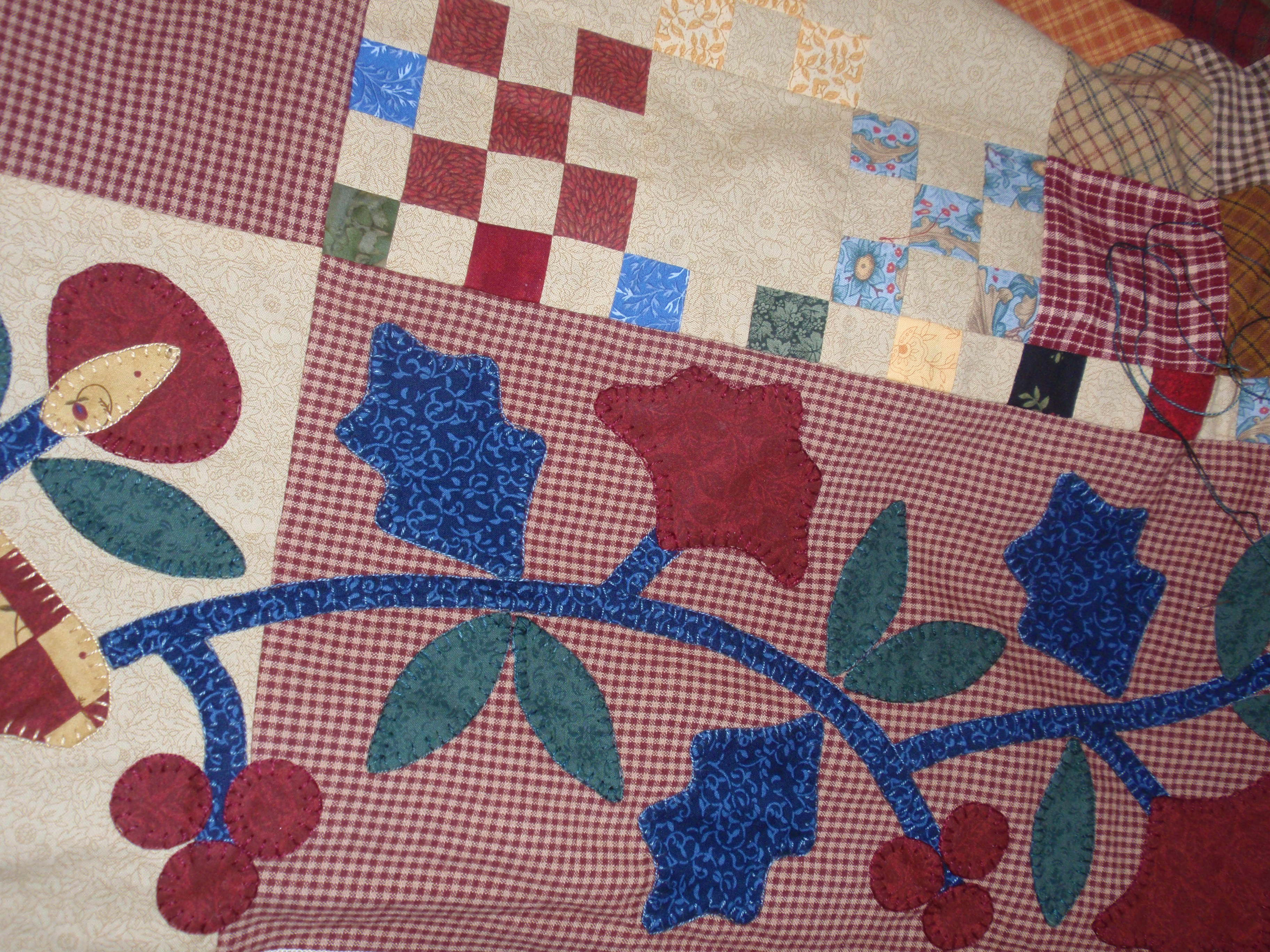 Applique filler quilting one piece at a time