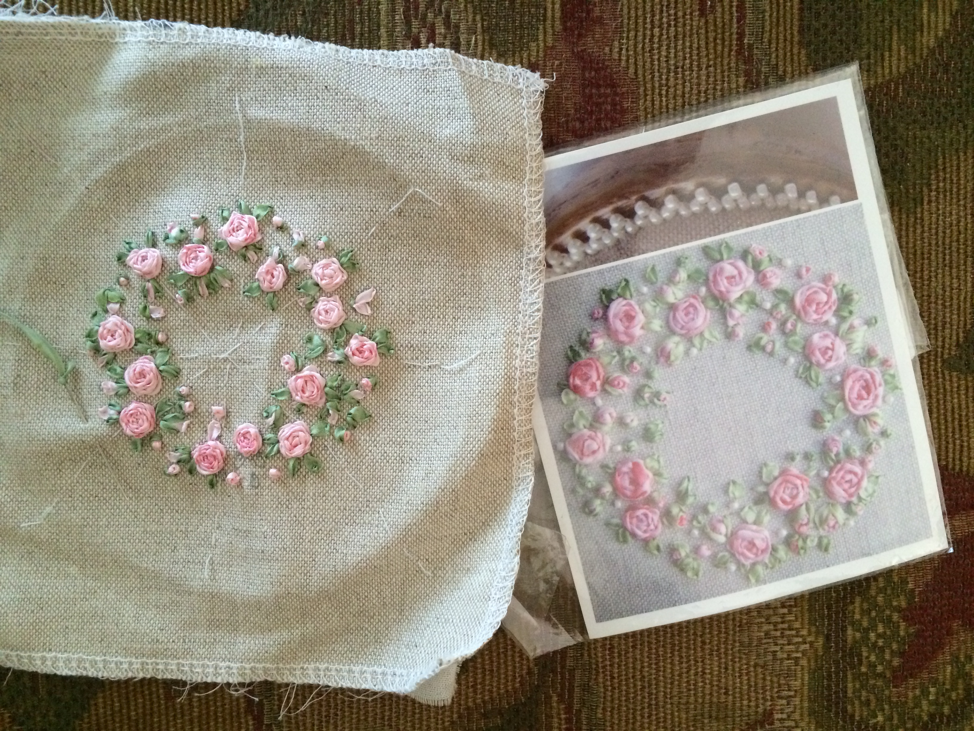 Ribbon embroidery bedspread designs - Ribbon Rose Pincushion1